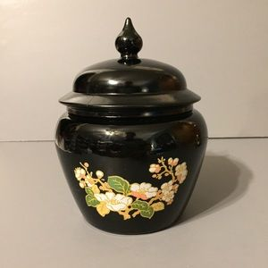Other - Vintage Avon 1974 Black Floral Ginger Jar